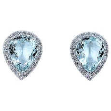 Breathtaking 23ctw Carat Aquamarine & Diamond Earrings