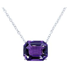 Royal Purple Amethyst & White Gold Necklace
