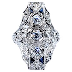 Extravagant Art Deco Diamond Dinner Ring