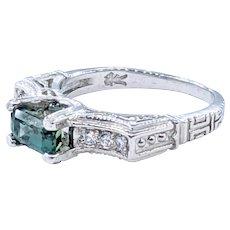 Architectural Sapphire & Diamond Ring