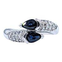 Stunning Sapphire & Diamond Crossover Ring