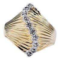 Fabulous Retro Gold & Diamond Fashion Ring