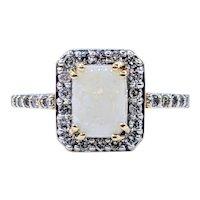 Classic Opal & Diamond Halo Dress Ring