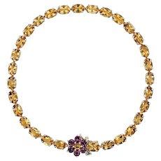 Sparkling Citrine & Tourmaline Gemstone Bracelet - 14K Gold