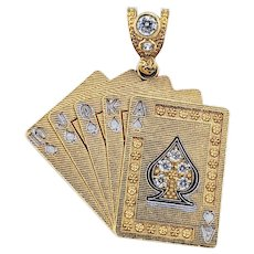 Solid Gold Royal Flush Pendant