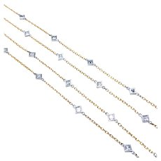 2.50ctw Princess Cut Diamond Station Necklace - 36 Inches