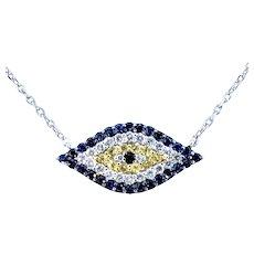 Charming Diamond & Sapphire Evil Eye Necklace