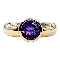 Vivid Amethyst & Solid Gold Cocktail Ring