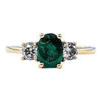 Vivid Green Emerald & Diamond Three Stone Ring