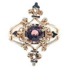 Gothic Pink Tourmaline & 14K Gold Cocktail Ring