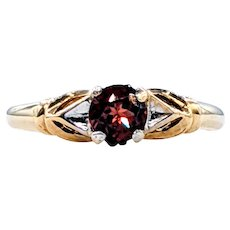 Delicate Garnet & Solid Gold Dress Ring