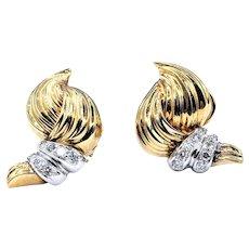 Splendid Sculptural Diamond & 18K Gold Earrings
