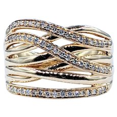 Stylish Gold & Diamond Crossover Ring