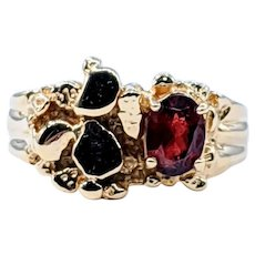 "Gleaming Garnet & 14K Gold ""Nugget"" Ring"