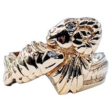 """Stylized Gold & Diamond """"Pisces & Aries"""" Ring"""