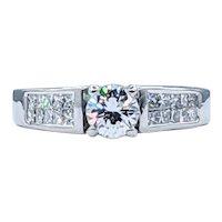 Stunning Round & Princess Cut Diamond Engagement Ring
