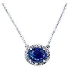 Deep Blue Opal & Diamond Halo Necklace