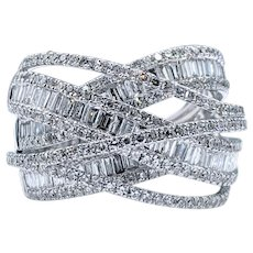 Intricate Diamond Crossover Cocktail Ring