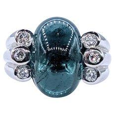 Sensational Indicolite Tourmaline & Diamond Cocktail Ring