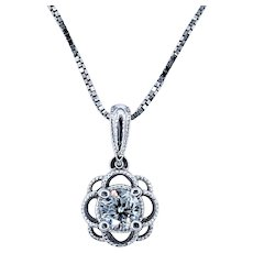 Lovely Floral Diamond Solitaire Necklace