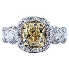 JB Star Internally Flawless Yellow Diamond Ring with GIA Report