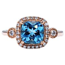 Colorful Blue Topaz & Diamond Cocktail Ring - 14K Rose Gold