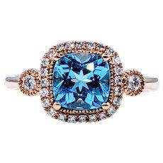 Colorful Blue Topaz & Diamond Cocktail Ring - 14K Rose Gold