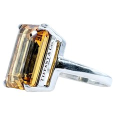 """Tiffany & Co Citrine & Sterling Silver """"Sparkler"""" Collection Ring"""
