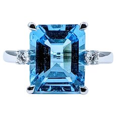 Incredible Blue Topaz & Diamond Cocktail Ring