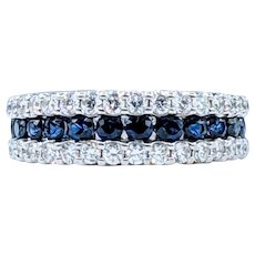 Simple & Stylish Diamond & Sapphire Band