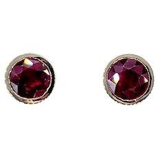 Excellent Ruby Stud Earrings - 1 Carat Each