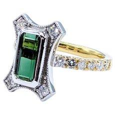 Unique Tourmaline & Diamond Ring - 18K & Platinum