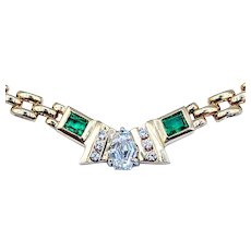 One of a Kind Shield Cut Diamond & Emerald Chain Necklace