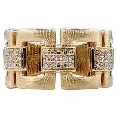 Stylish EFFY Diamond & Gold Link Ring