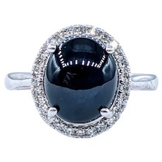Dark Blue Star Sapphire & Diamond Cocktail Ring