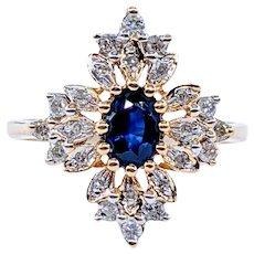 Fantastic Sapphire & Diamond Cocktail Ring