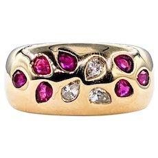 Retro Pear-Cut Ruby & Diamond Fashion Ring