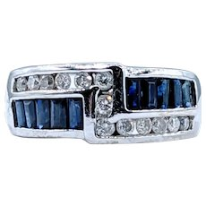 Bold Blue Sapphire & Diamond Dress Ring