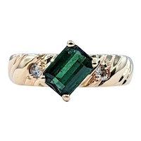 Striking Green Tourmaline & Diamond Ring