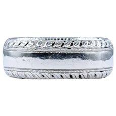 Leaf Detail Platinum Band Ring