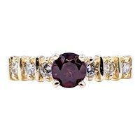 Beautiful Garnet, Diamond & Solid Gold Ring