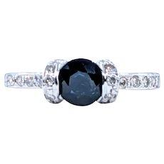 Lovely Sapphire & Diamond Ring - 18K White Gold