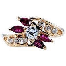 Elegant Diamond & Marquise Ruby Ring
