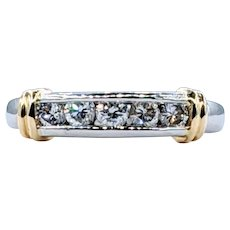 Stylish Diamond, Platinum & 18K Gold Band