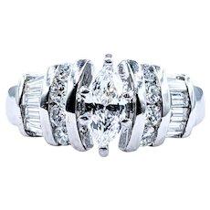 Marquise Cut Diamond & Platinum Engagement Ring