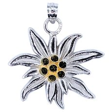 14K White & Yellow Gold Edelweiss Pendant