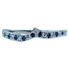 Beautiful Sapphire & Diamond Shadow Band