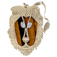 Charming Gold & Tiger's Eye Baboon Pendant