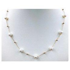 Beautiful Akoya Pearl & 18K Station Necklace