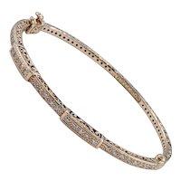 Charriol Diamond & 18K Rose Gold Bangle Bracelet